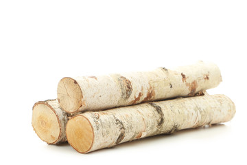 Poster de jardin Texture de bois de chauffage Pile of dry firewood isolated on white background