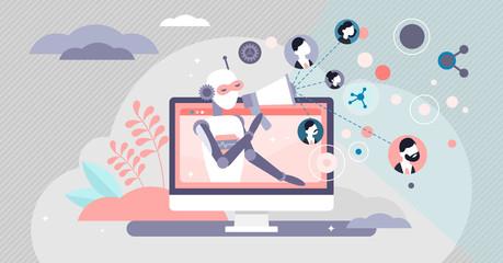 Marketing automation AI bot concept vector illustration