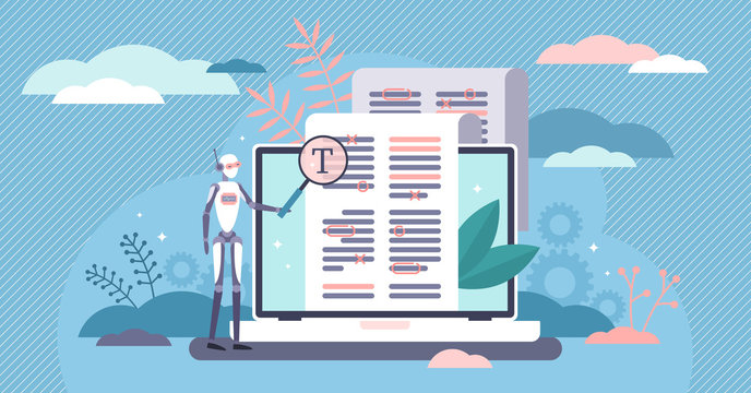Robot proofreading flat tiny bot person concept vector illustration