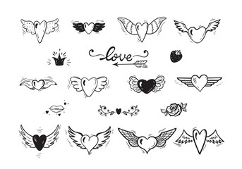 Love Vector Set. Beautiful Doodle Heart tattoo. Hearts with Wings for Valentines Day or Wedding greeting cards. Hand drawn illustration