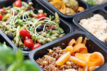 Photo sur Aluminium Assortiment Box diet. Meal prep containers, dietetic catering. Lunch box. Take-away box diet.