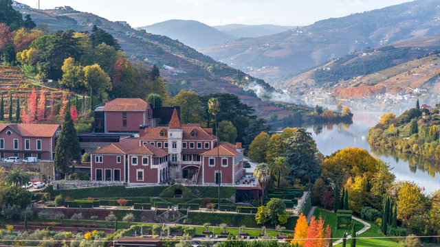 Elevated view of Six Senses Hotel, Douro River, Douro Valley, Portugal