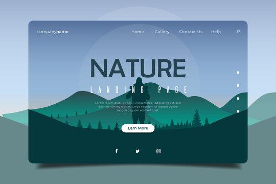 Landscape Nature Background, Landing Page Illustration Full Screen, Traveler Homepage illustration, Website backgrounds vector.