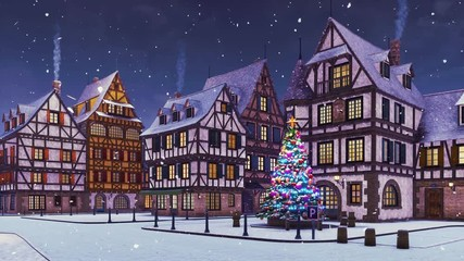 Wall Mural - Cozy european town with decorated outdoor christmas tree on its square and traditional half-timbered houses at dusk or dawn during snowfall. With no people 3D animation for Xmas or New Year holidays.