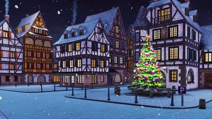 Wall Mural - Empty european town with illuminated outdoor christmas tree on its square and traditional half-timbered houses at snowfall winter night. With no people 3D animation for Xmas or New Year rendered in 4K