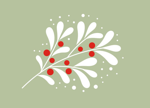 Christmas white mistletoe branch with red berries.