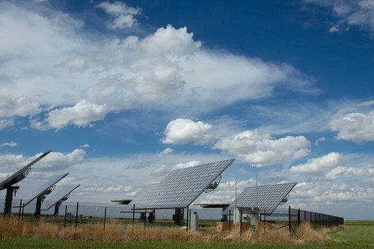 Array of Solar Panels in Open Prairie