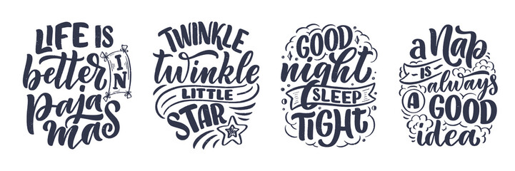 Lettering Slogan about sleep and good night. Vector illustration design for graphic, prints, poster, card, sticker and other creative uses