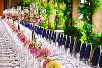floral decorated table on a banquet
