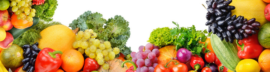 Photo sur Aluminium Légumes frais Panoramic collection fruits and vegetables isolated on white background. Collage. Wide photo .