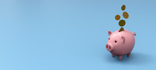 Stylized ceramic piggy bank on blue mockup background, 3D Illustration