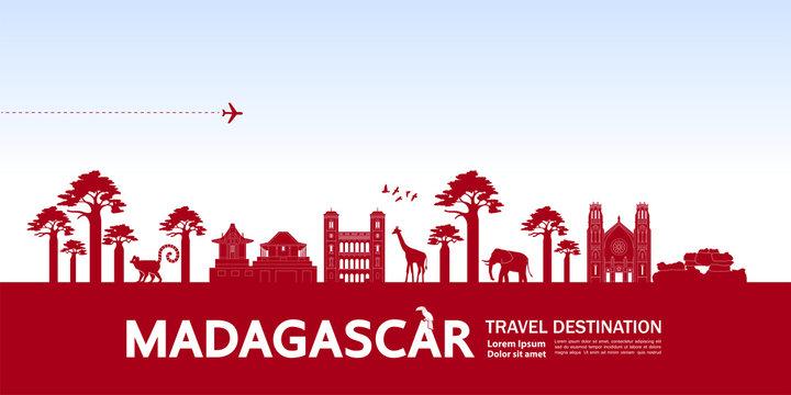 Madagascar travel destination grand vector illustration.