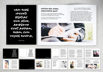 Black and White Brochure Layout with Handwritten Text Elements