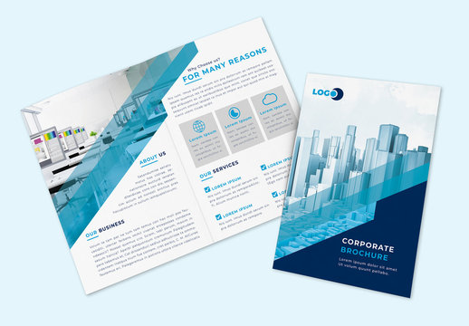 Multipurpose Bifold Brochure Layout with Blue Accents
