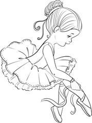 Beautiful little ballerina girl outline coloring page