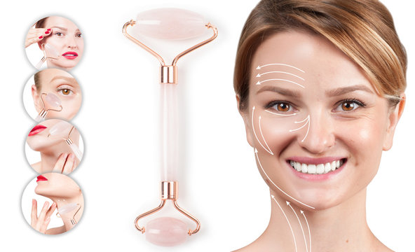 Concept of skin rejuvenation. Woman with massage lines showing her face after face roller massage.
