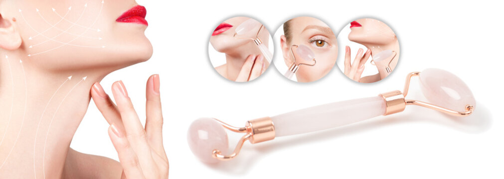 Face lift anti-aging treatment with jade roller. Woman with perfect skin of her face after massage.