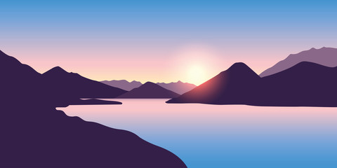 peaceful big river nature landscape at sunrise in purple colors vector illustration EPS10 Fototapete