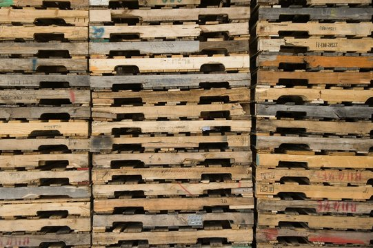 Detail Shot Of Stacked Pallets