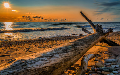 Foto op Aluminium Arctica sunset on the beach