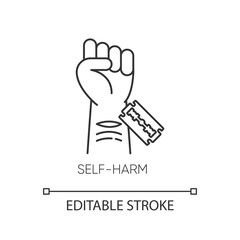 Self-harm linear icon. Cut hand with razor blade. Mental disorder. Hurt vein. Self-inflicted violence. Thin line illustration. Contour symbol. Vector isolated outline drawing. Editable stroke