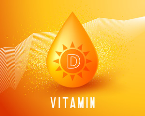 Fototapeta Nutrition sign vector concept. The power of vitamin D golden drop. Sun in drop of vitamin D obraz