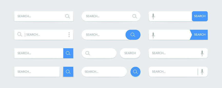 Search bar design web UI elements. Vector template for browsers with search button and text field. Set of mobile application graphic elements, computer searched navigator