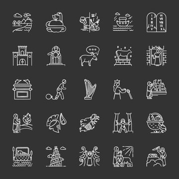 Bible narratives chalk icons set. Noah Ark, Babel tower. Moses, God myths. Religious legends. Christian religion, holy book scenes plot. Biblical stories. Isolated vector chalkboard illustrations