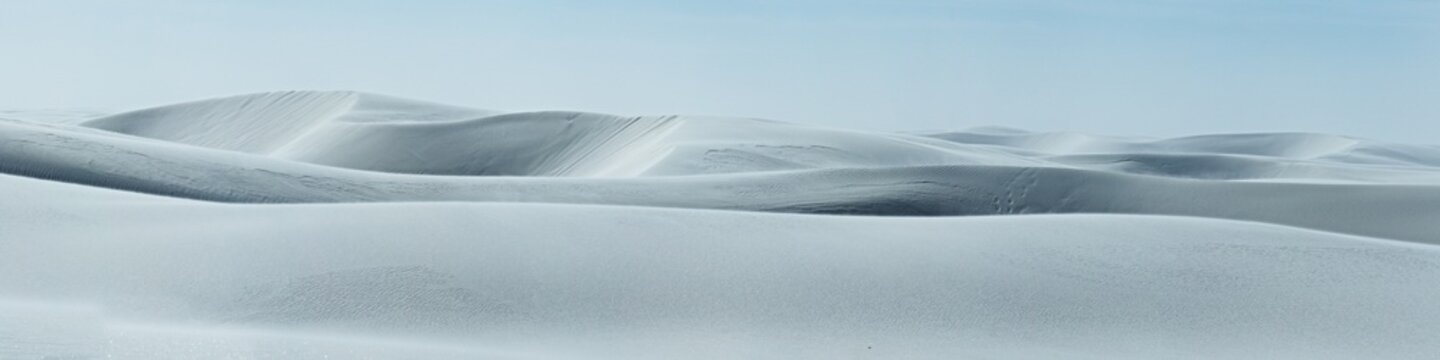 The windy white dunes of White Sands National Monument in New Mexico.