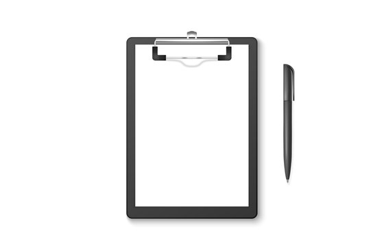 Vector 3d Realistic Black Clipboard with Blank Paper, Metal Clip, Automatic Pen Set Closeup Isolated on White Background. Design Template for Notes, Mockup, Checklist, Questionnaire, Reminders