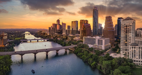 Autocollant pour porte Texas Austin Texas during sunset