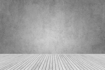 Wall Mural - gray cement wall and white wooden floor for studio and room design