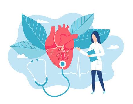 Cardiologist listens to a heartbeat. Healthy heart. Cardiology