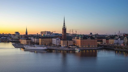 Wall Mural - Time lapse at Stockholm with view of Gamla Stan old town in Sweden