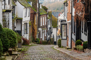 Iconic view of Mermaid Street, Rye, East Sussex, England.