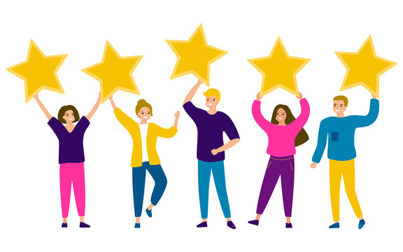 Group of young happy people are holding stars in their hands. Men and women striving for perfection, star of success, dreams, excellence in life. Rating five stars. Vector illustration