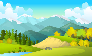 Keuken foto achterwand Lime groen Vector illustration of beautiful summer fields landscape with a dawn, green hills, bright color blue sky, country background in flat cartoon style banner