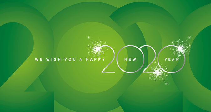 We wish You Happy New Year 2020 silver modern design light typography numbers green greeting card