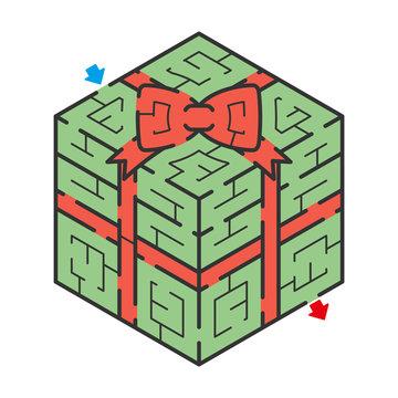 ギフトボックス,クリスマス,誕生日,プレゼント,ボックス,迷路,アイソメトリック,パズル,迷宮,ゲーム,イラスト,ベクター,3D,かわいい,白バック,白背景,吉川めいろ