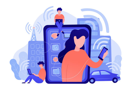 People using different electronic devices such as smartphone, laptop, tablet. Radio fields, electromagnetic pollution, radiation abstract concept. Vector metaphor abstract illustration.