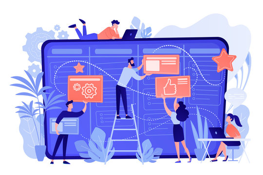 Team members moving cards on large kanban board. Teamwork, communication, interaction, business process, agile project management concept, pinkish coral blue palette. Vector illustration on white