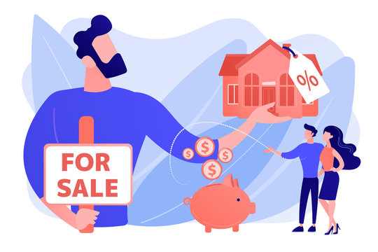 Married couple searching home. Realtor offering property with discount. House for sale, selling house best deal, real estate agent services concept. Pinkish coral bluevector isolated illustration