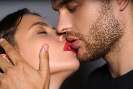 Kiss. I Love You. Couple In Love. Intimate relationship and sexual relations. Closeup mouths kissing. Passion and sensual touch. Romantic and love.