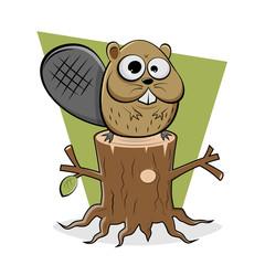funny cartoon illustration of a beaver sitting on a tree stump