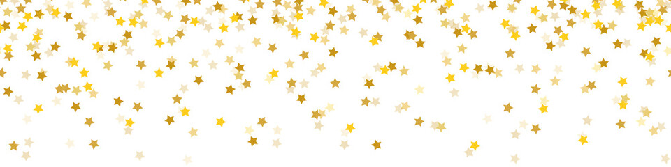 Falling golden confetti stars christmas seamless pattern background