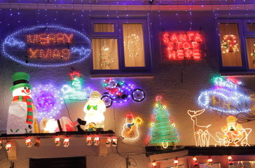 Poster Submarine House decorated with Christmas light in Colyton, Devon