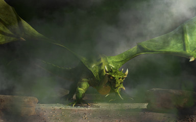 From dark smoke and mist, a huge green dragon emerges. Its wings spread, the monster of myth and legend glares at you menacingly as it creeps towards you. 3D Rendering.