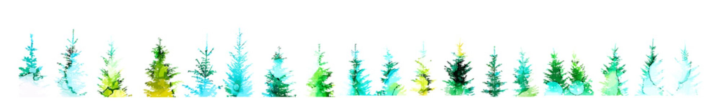 Set of picturesque Christmas trees. Mixed media. Vector illustration