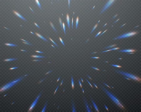 Holographic transparent reflections flare isolated on transparent dark background. Vector illustration