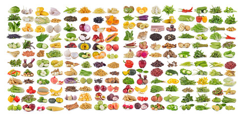 Keuken foto achterwand Keuken vegetable and fruit on white